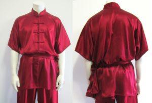 wushu kleding korte mouw rood satijn