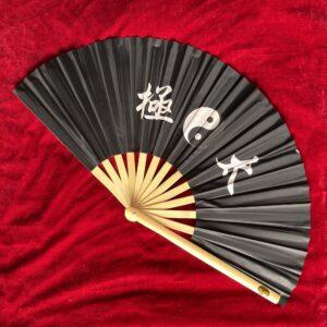 wood black taiji fan