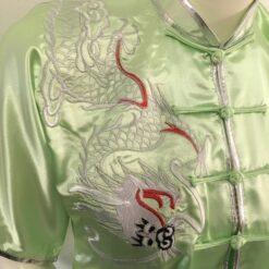 Wushu kung fu top jacket light green satin silver dragon embroidery G201DRLG (1)