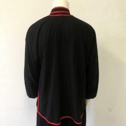 Tai Chi Jacket black cotton double red stripe long sleeve