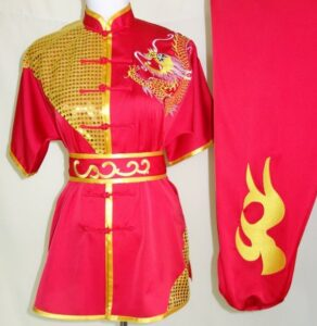 Wushu Red Gold Dragon sequins