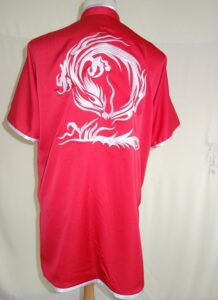 Wushu Red Silver Dragon on back