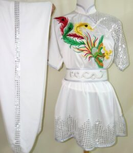 Wushu White Colored Pheonix Silver Sequins
