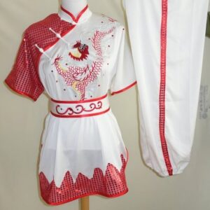 Wushu White Red Dragon Red sequins rim