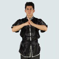 Satin wushu kungfu jacket uniform top black silver lining