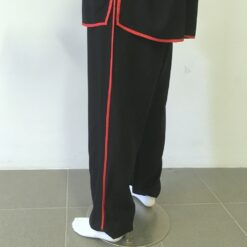 Cotton tai chikung fu pants black with red stripe