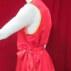 Wushu nan quan kung fu sleeveless red satin top jacket gold trim